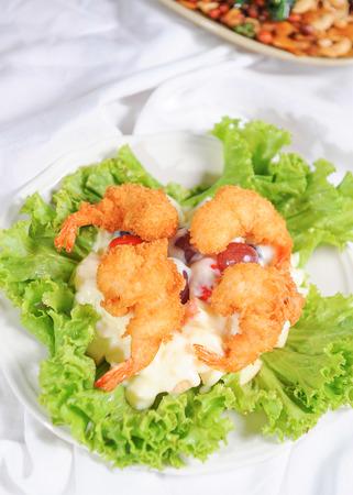 salad from prawn or shrimp with vegetables