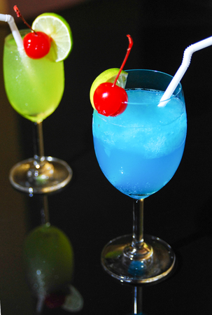 blue Cocktail in the bar Stock Photo