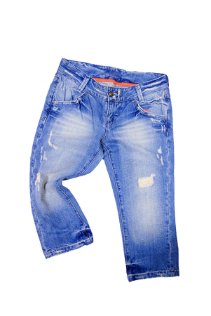 Top view blue jeans isolated on white background