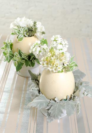 Beautiful bouquet on egg vase