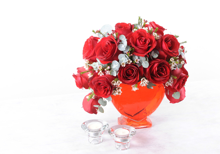 Bouquet rose and candlestick