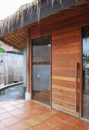 wooden doors and glass window