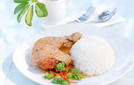 Chicken with white rice and vegetables