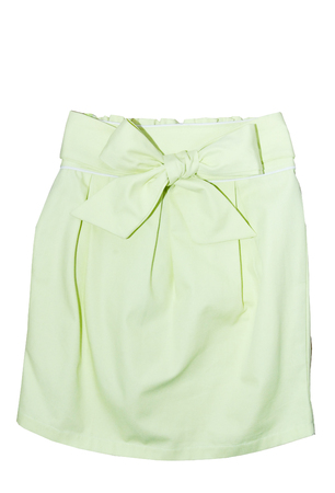 green silk skirt with a ribbon isolated on white Banque d'images