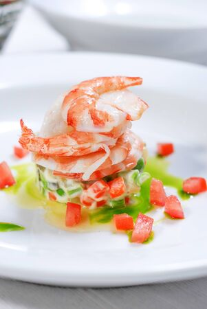 big shrimp with small tomatoes for starter menu Stock Photo