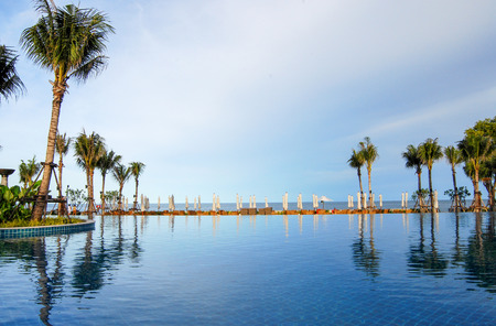 tropical swimming pool   on the beach Stock Photo