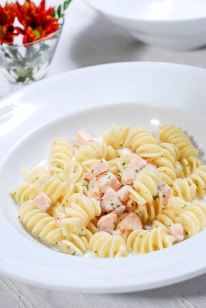 Home made Tasty Pasta with Salmon