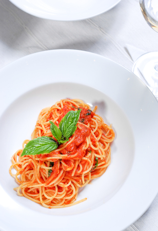 Spaghetti pasta with tomato sauce and minced meat