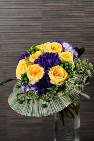 bouquet of elegant yellow roses and flower