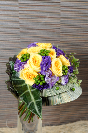 bouquet of spring flowers and yellow rose Stockfoto