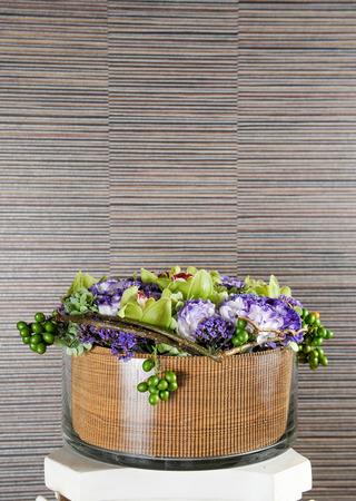 Bouquet of flower in glass vase Stockfoto