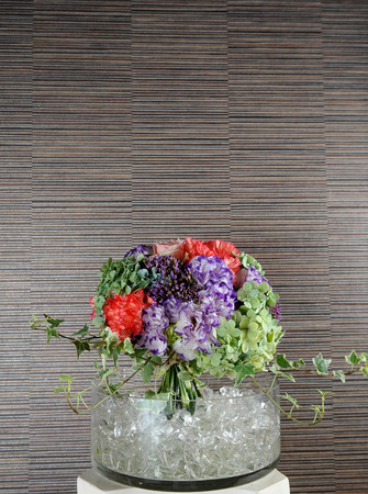 bouquet of fresh flowers on ice