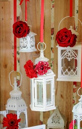 lantern and beautiful  roses flowers Stockfoto