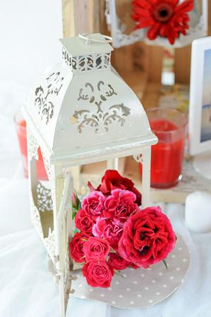 red flower Bouquet with lantern