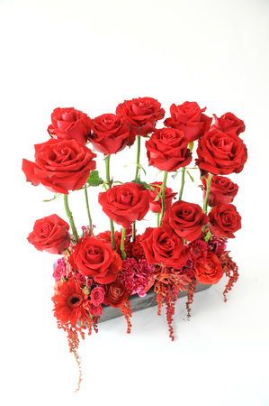 beautiful bouquet of red roses isolate on white background