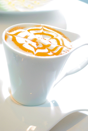 latte or coffee in a glass