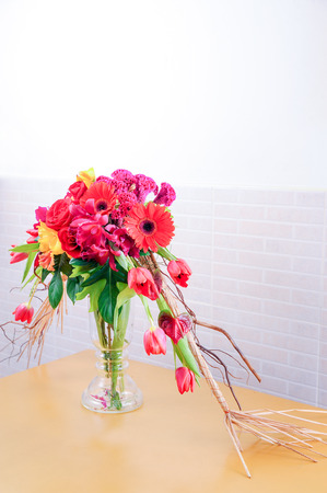 bouquet from flowers and glass vase