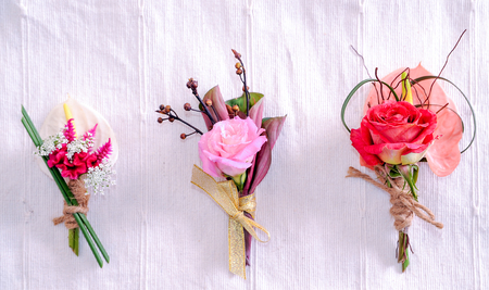 corsage of flowers isolated on white background