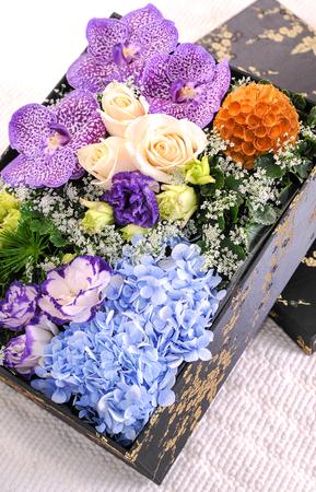 flower bouquet on black box