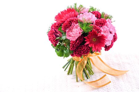 beautiful bouquet of mixed flowers on white background Stockfoto