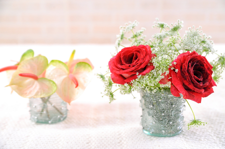 Beautiful wedding bouquet with roses and flowers Stockfoto