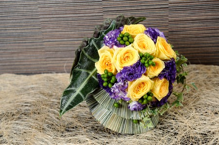 close up Bridal bouquet yellow rose flowers