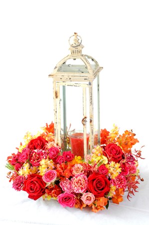 candle lantern for decorations and bouquet of flowers Stockfoto
