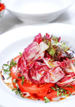 salad with the red cabbage on plate
