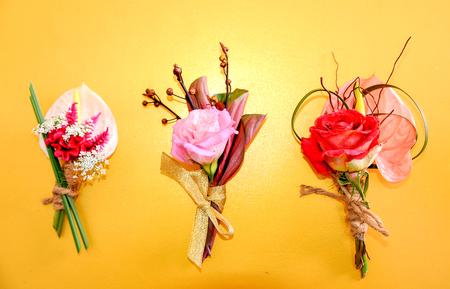 Corsages made fron flowers for wedding Stockfoto