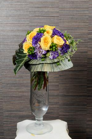 Flowers bouquet in glass vase