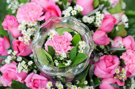 top view of a beautiful bouquet and rose Stockfoto