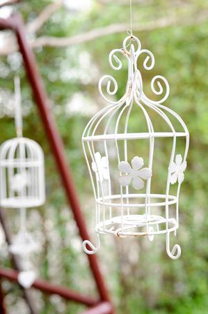 decorative cage in the garden Stockfoto