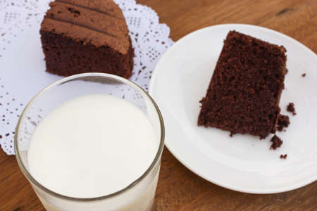 cake background: Closeup a glass of milk on top view. With chocolate cake background.