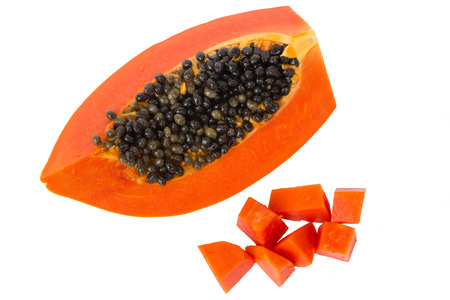 grope: papaya in white isolate background