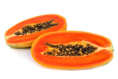 cutaneous: Fresh papaya slice on white background.  Tropical fruit. Stock Photo