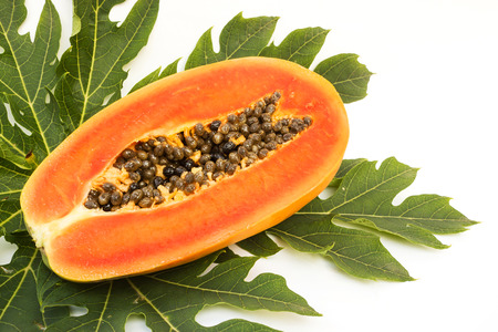 cutaneous: Fresh papaya slice on green leaf. On white background.  Tropical fruit.