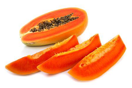 cutaneous: Fresh papaya slice on white background.  Tropical fruit. Stock Photo