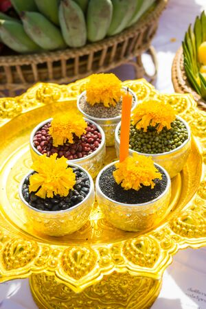 offering for joss house, Thailand. (Oblation) Stock Photo
