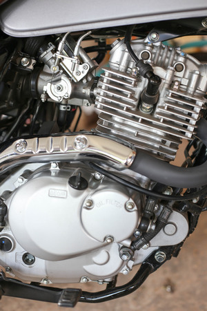 chorme: Close up of a motorcycle engine, abstract background. Grunge