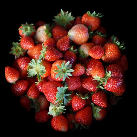 Fresh strawberry background, Strawberry isolated on black background
