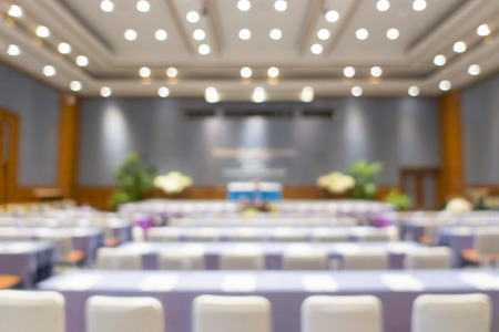 Blur of business conference and presentation in the conference hall, Meeting and conference room talking about business in blurred and de- focus Stock Photo