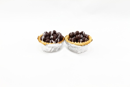 chocolate tart: Chocolate Tart isolated on white background Stock Photo