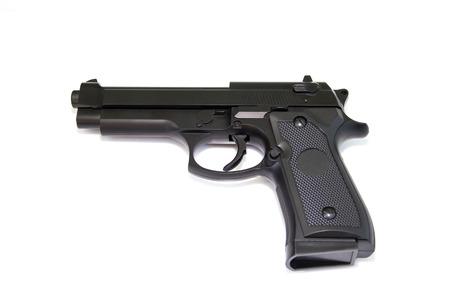lanzamiento de bala: Gun aisladas sobre fondo blanco