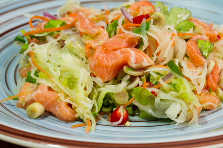 rosmarin: Yum ,Salad with salmon food background