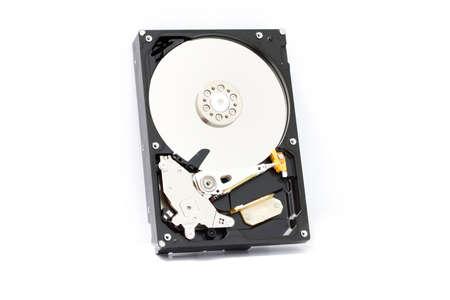 harddisk: Close up inside of Harddisk on white background