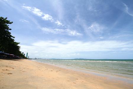 Sea sand beach With a clear blue sky Stok Fotoğraf