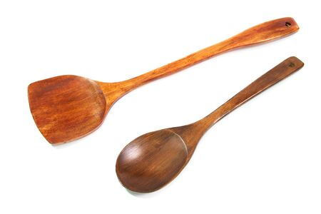 Wooden ladle on white background