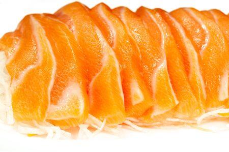 Close up Salmon Sushi Sashimi Japanese Food on white backgroung