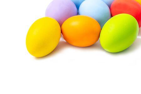 Multi color Easter egg on white background