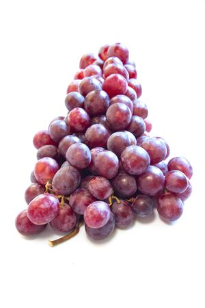 red grape bunch on white background